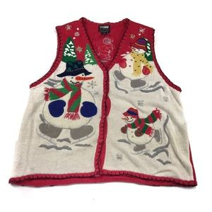 Vintage Ugly Christmas Snowman Sweater Vest